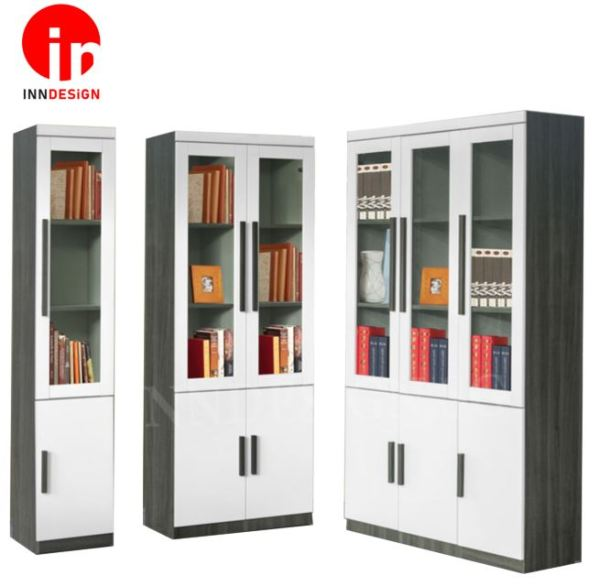 [Delivery Within 3-7 Working Days] Alfrendo Glass Doors Bookshelf With Cabinet (Free Delivery and Installation)