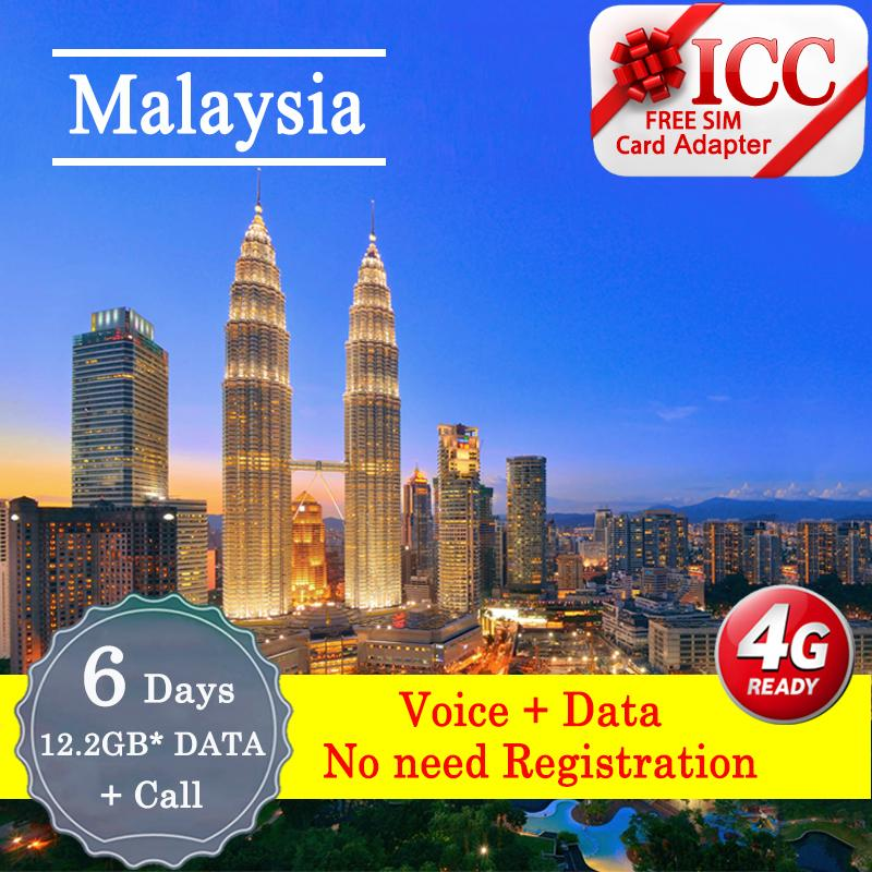 Icc【malaysia Sim Card· 6 Days】 Celcom 4g Lte+unlimited Data*+call By Icc.