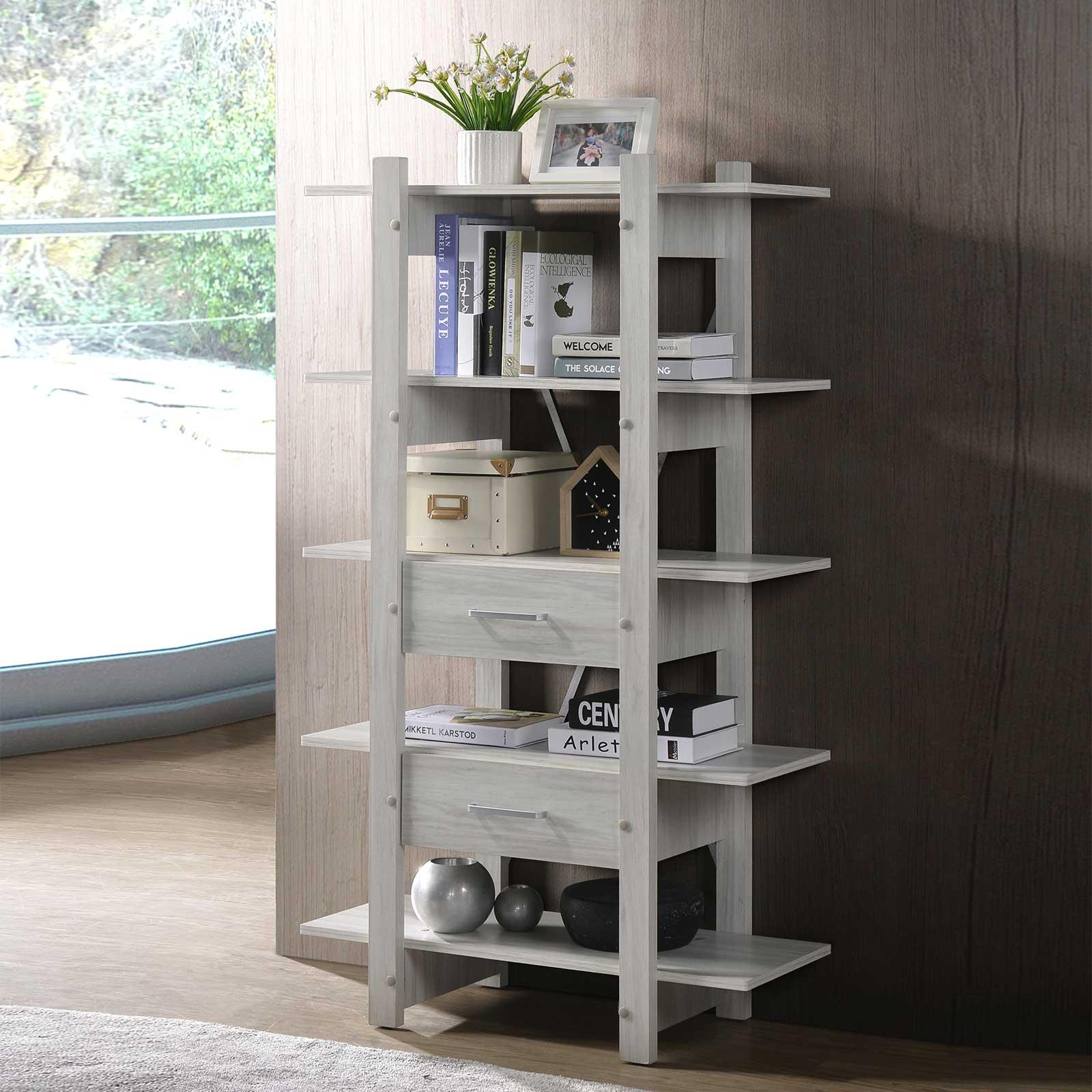Bookshelf in White Oak (Free Installation + Delivery) Display Cabinet Shelf Bookcase E-LIVING Furniture
