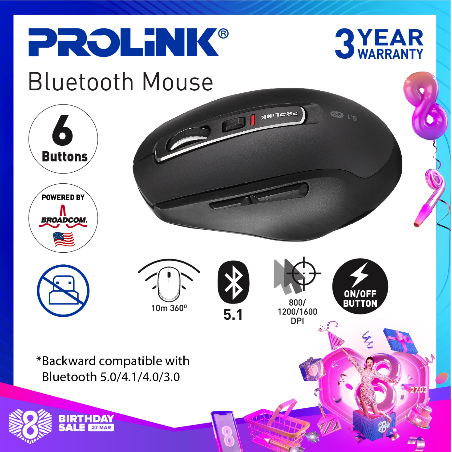NEW! PROLiNK PMB8502 Premium Bluetooth 5.1 Wireless Mouse - 6 buttons (Broadcom Chipset from USA)