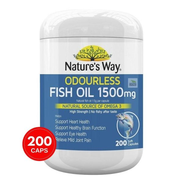 Buy Natures Way Fish Oil Odourless 1500mg 200 Capsules March 2023 Singapore