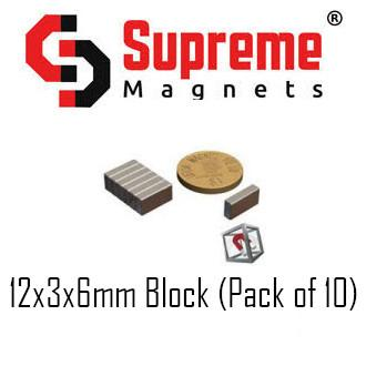 N50 Super Strong Powerful Neodymium Magnet Singapore 12mm x 3mm x 6mm block (pack of 10) LTS-SM-NB1236