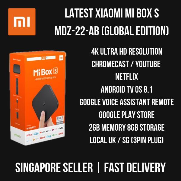 Xiaomi Mi Box S MDZ-22-AB (International) 2018 Set - 4K HDR Android TV 8 1  with Google Assistant Remote / Chromecast / Netflix