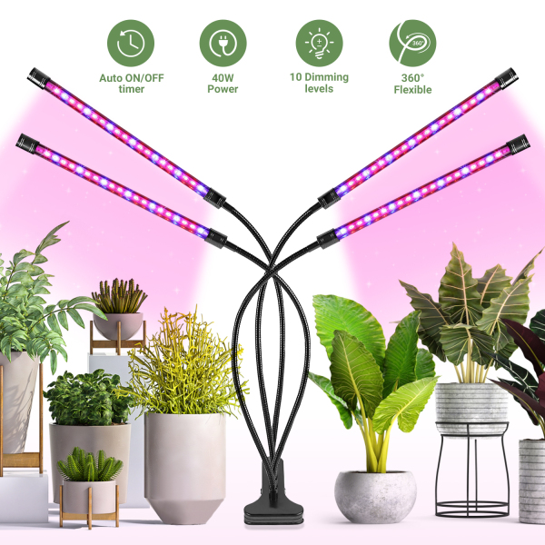 [Promotion Offer]Hompo 4 Arms Full Spectrum Indoor Plant Grow Sunlike 80 LED Light, 360° Flexible Desk Plant Grow Lamp