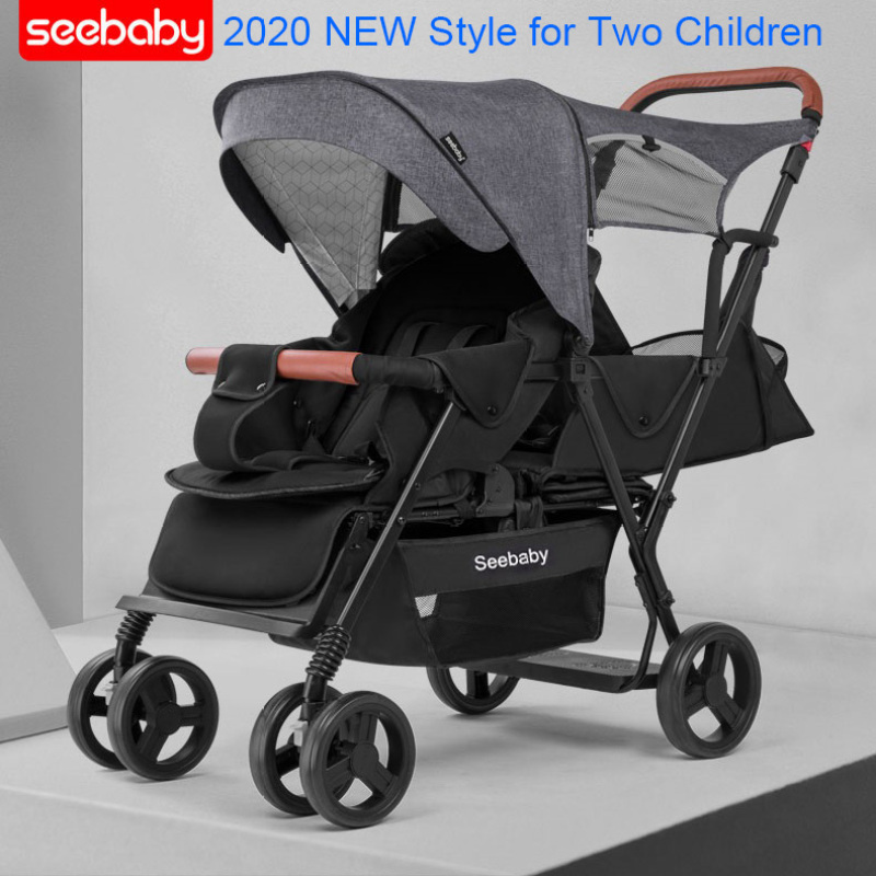 Seebaby Twins Baby Stroller Double Children 4-wheel Baby Stroller With Standing Board T12 European 2020 Style Singapore