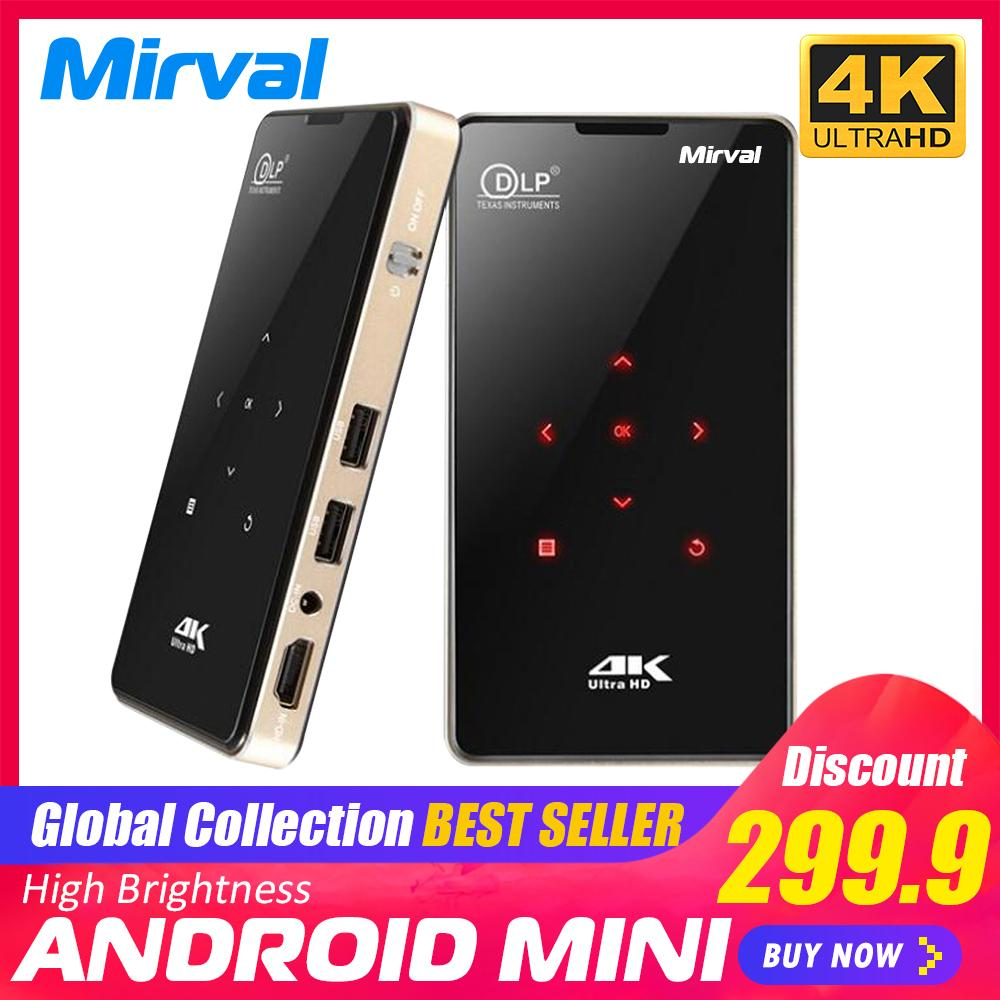 Mirval P9 Portable Projector Amlogic S905 Android 6.0. Mini Dlp Projector With Dual Band Wifi And 4k Hd Video By Mirval Outlet Store.