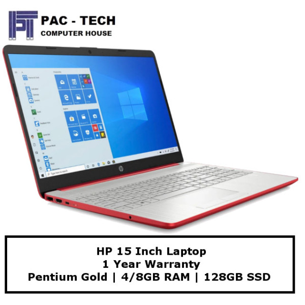 [Brand New] HP 15 Laptop | Pentium Gold Processor | 4GB/8GB RAM | 128GB Solid State Drive | 15.6 Display | Windows 10 Home | 1 Year Warranty