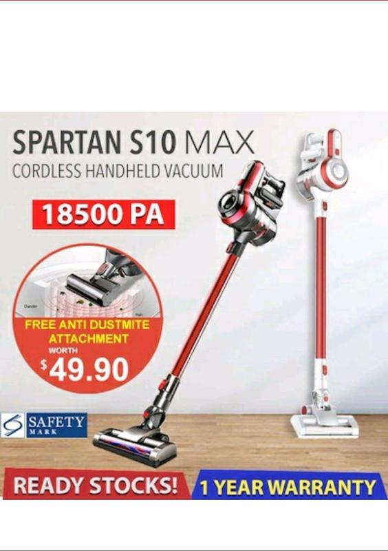【Introductory Offer】SPARTAN S10 MAX 14kPA/18.5kPA Suction Power  Cordless Vacuum Singapore