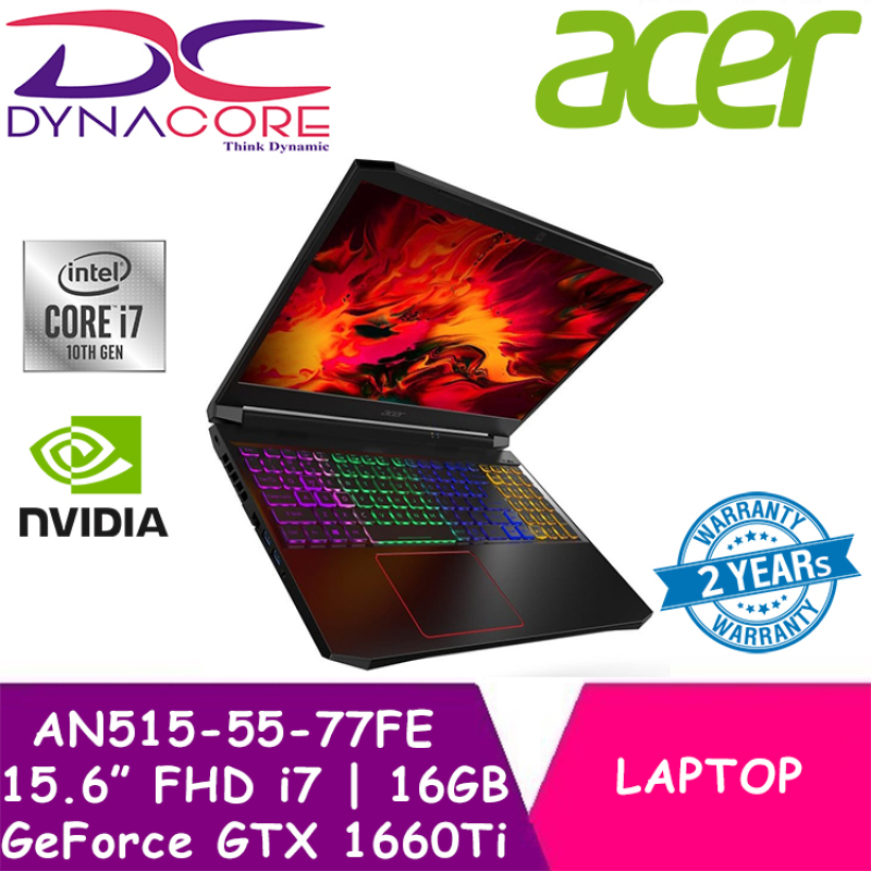 DYNACORE - Acer Nitro 5 AN515-55-77FE 144Hz Gaming laptop with Intel 10th Gen Core i7-10750H Processor and NVIDIA GeForce GTX 1660TI