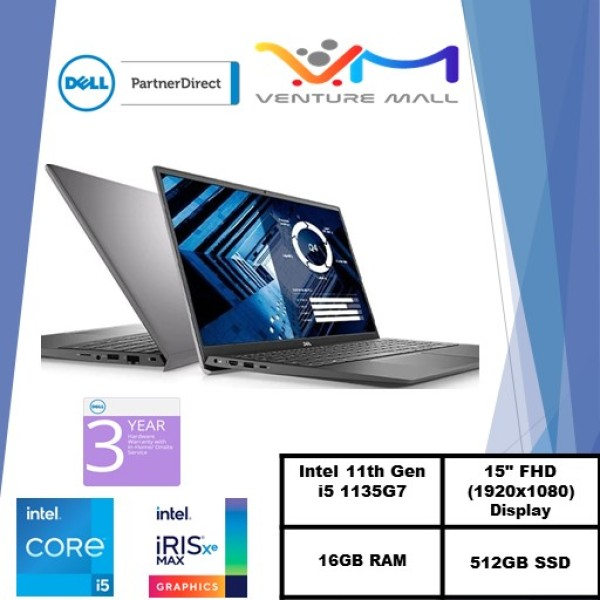 NEW 11GEN (READY STOCK)New Vostro 15 3500- Intel i5-1135G7/Win 10 Pro/Intel® Iris® Xe Graphics/16GB RAM/512GB SSD/3Yrs warranty