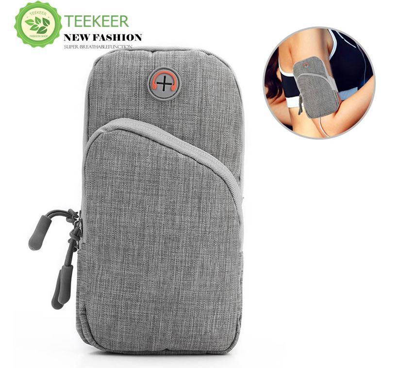Teekeer Multifunctional Phone Arm Pouch, Waterproof Outdoor Sports Armband with Earphone Hole, Adjustable Strap