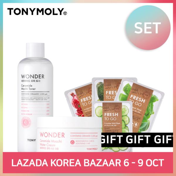 Buy [TONYMOLY] WONDER CERAMIDE MOCCHI TONER & WATER CREAM (SET) Singapore