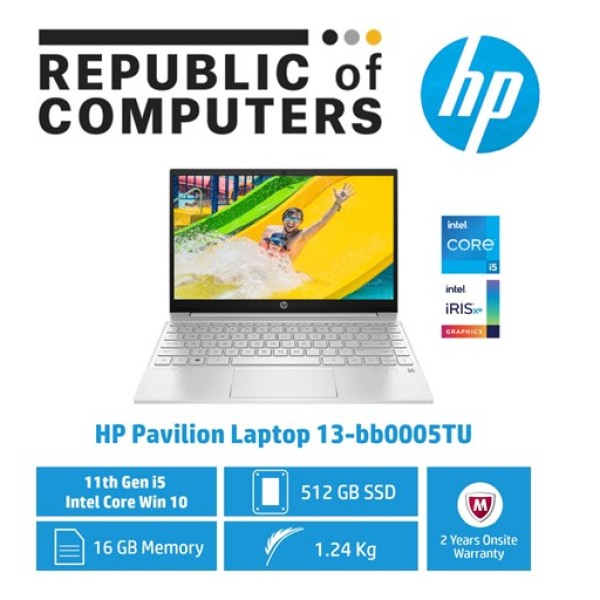 HP Pavilion Laptop 13-bb0005TU / Intel® Core™ i5-1135G7 / 16GB RAM / 512GB SSD / Win 10 /11th Gen Intel® Core™ i5 Processor / First 2 Years Warranty