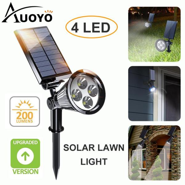 Auoyo 4 LED Solar Light Outdoor Lighting Solar Spotlights Adjustable Wall Light Landscape Light Security Lamp Dark Sensing Auto On/Off for Patio Deck Yard Garden Driveway Pool