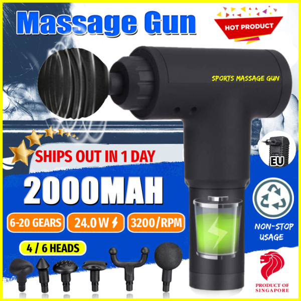 Buy [2020 HOT ITEM] Sports Electric Massage Gun - Deep Tissue Percussion Handheld Massager for Muscle Soreness, Pain Relief, Back & Neck Stiffness, 3200 RPM / 20 GEARS Cordless Vibration Body Drill Device for Athletes Exercise, Home Gym, Fascia, Anti-Fatigue Singapore