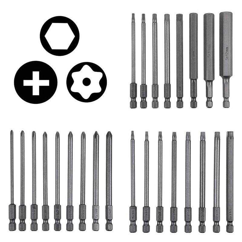 25Pcs 100Mm Long Magnetic Screwdriver Bit Set 4 Inch Drill Screw Driver Power Tools Kit