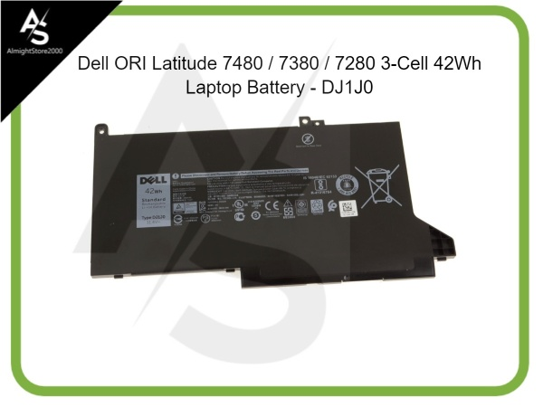 DJ1J0 Dell Latitude 7480 / 7380 / 7280 3-Cell 42Wh Laptop Battery