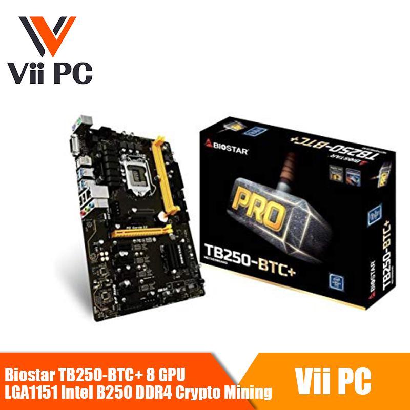 Biostar TB250-BTC+ 8 GPU LGA1151 Intel B250 DDR4 Crypto Mining Driver-ready  for 8X NVIDIA or 8X AMD Graphics Cards