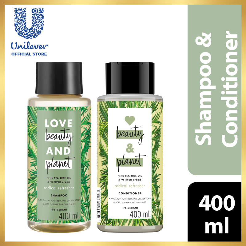 Buy Love beauty And Planet Tea Tree Oil & Vetiver Radical Refresher Shampoo 400ml + Conditioner 400ml Singapore
