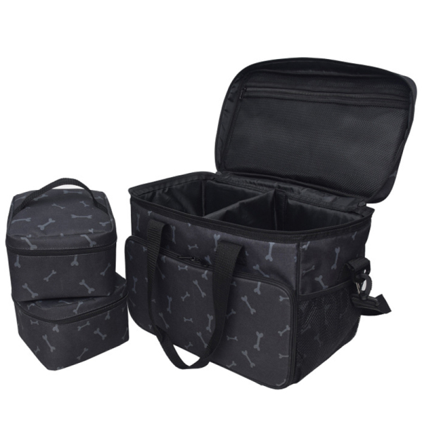Dog Travel Bag - Airline Approved Travel Set for Dogs Stores All Your Dog Accessories -2X Food Storage Containers
