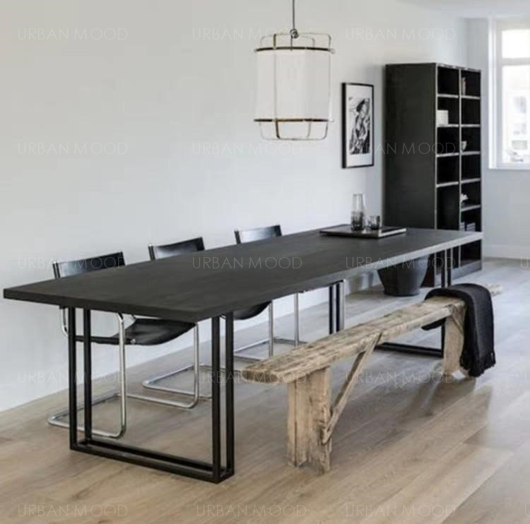 HALEY Modern Industrial Wooden Office Conference Table