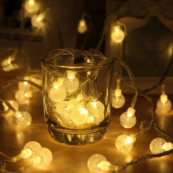 [ Starzdeals ] 5 Meters 50 Clear Crystal Balls Battery Operated Outdoor Fairy String Light - Warm White