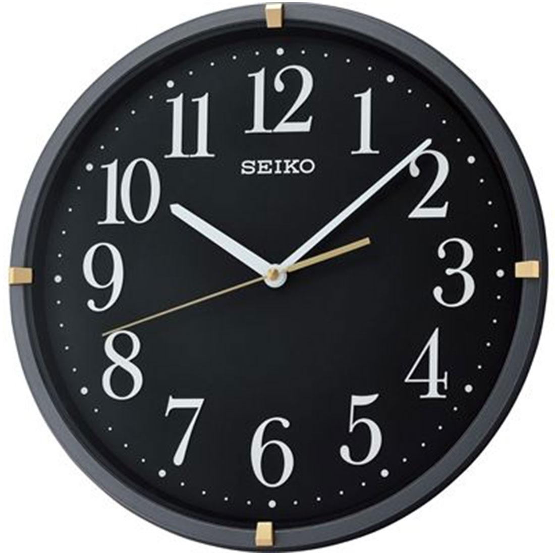 Seiko Black Decor Analog Round Wall Clock QXA746J