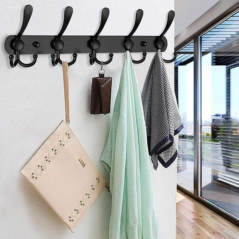 Wall Mounted Coat Rack, 2 Pack 5 Tri Hooks Heavy Duty Stainless Steel Coat Hook Rail for Coat Hat Towel Purse Robes (Black)