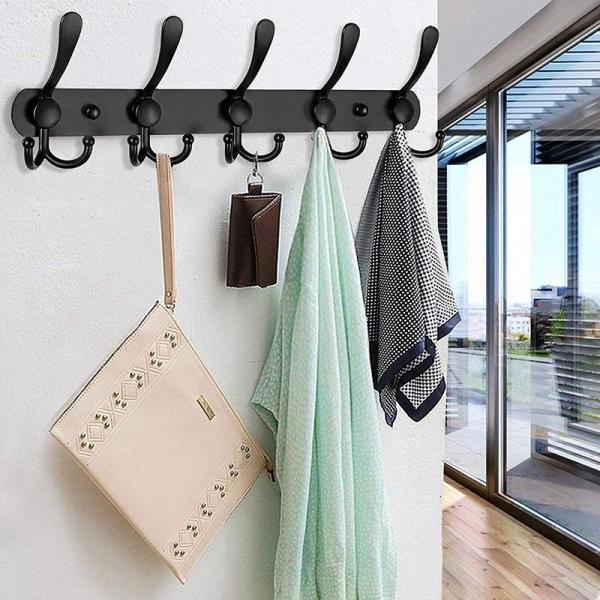 Wall Mounted Coat Rack, 2 Pack 5 Tri Hooks Heavy Duty Stainless Steel Coat Hook Rail for Coat Hat Towel Purse Robes (Black)