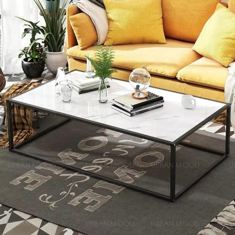ASPEN Minimalist Wire Frame Marble Coffee Table