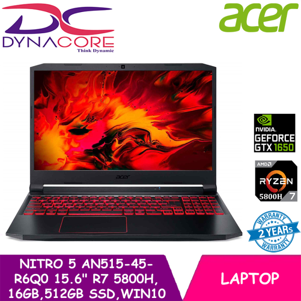 DYNACORE - ACER NITRO 5 AN515-45-R6Q0 (BLACK)15.6144Hz AMD RYZEN 7 5800H | 16GB RAM | 512GB SSD | WIN10 HOME