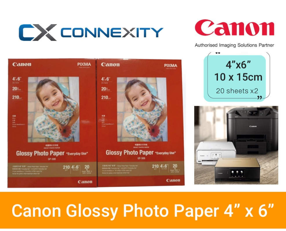 Canon Glossy Photo Paper Gp-508 ( 4x6 ) 2 Packs 40 Sheets L 4 X 6 10x15cm Size Photo Paper L Everyday Use L Canon Pixma Photo Paper L 10 X 15cm Glossy Photo Paper L Photo Paper For Canon Printers L Vibrant Glossy Paper L.