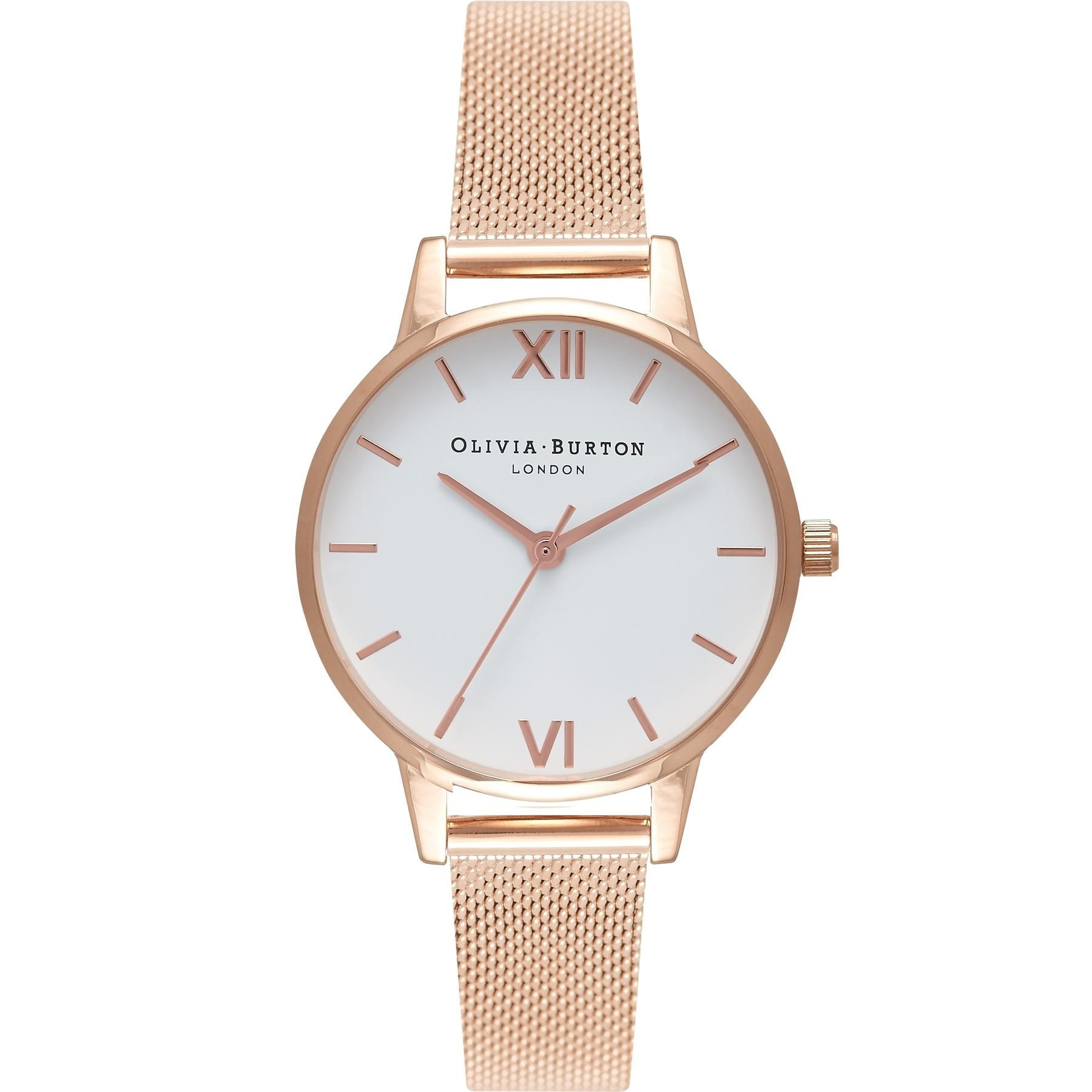 e2415f856688 Olivia Burton White 30mm Dial Rose Gold Mesh Women s Quartz Watch OB16MDW01