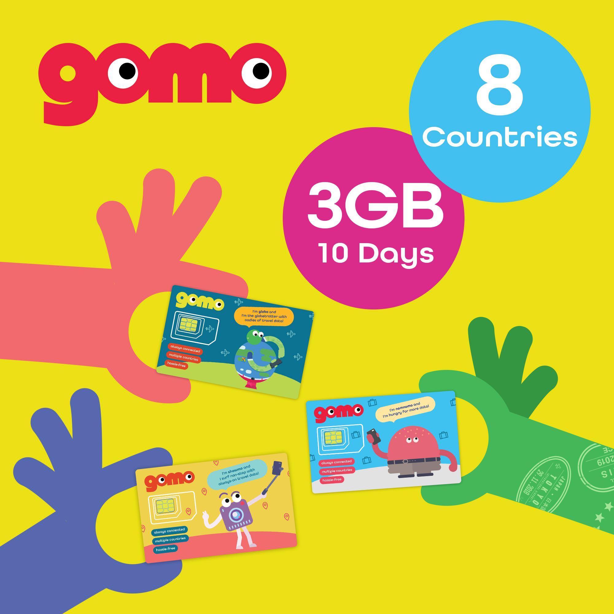 Gomo 4g Travel Sim 3gb/10 Days Aust/msia/thailand/philippines/tw/hk/macau/indo By Npn.