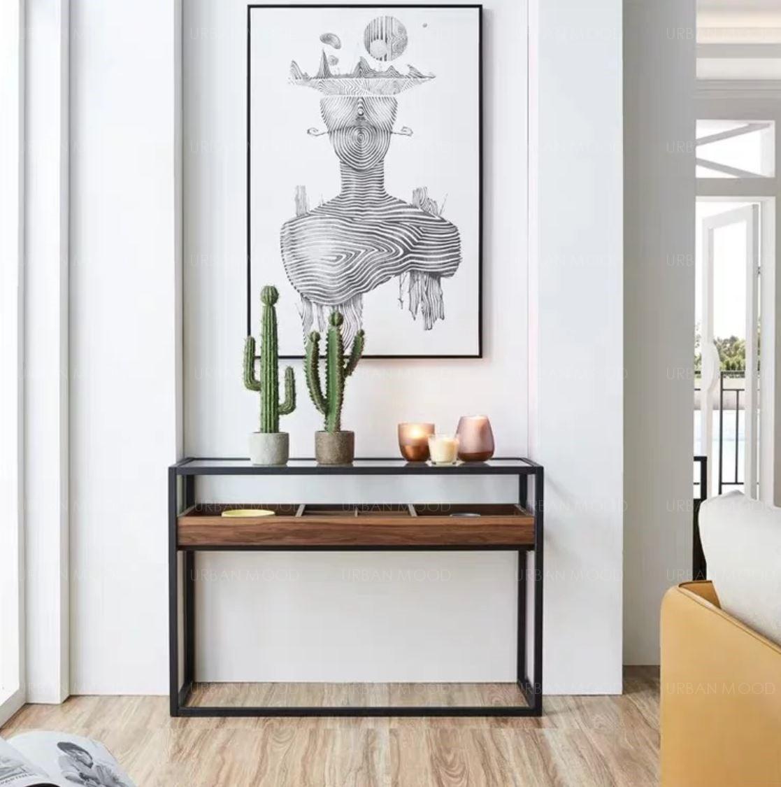TUCKER Modern Industrial Floating Hallway Display Table