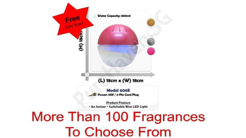 [BNIB] FOC 30ml Scent Liquid! Model 606E Premium Water Air Purifier 800ml. With Ionizer & Switchable Blue LED Lights Singapore