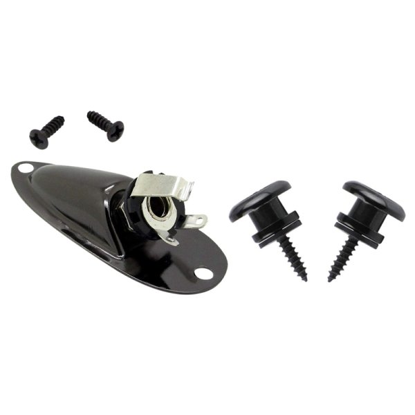 2Pcs Mushroom Head Guitar Strap Buttons Strap for Electric Acoustic Guitar Bass Parts,Black & 1Pcs Boat Style 1/4Inch Guitar Pickup Output Input Jack Plug Socket Malaysia