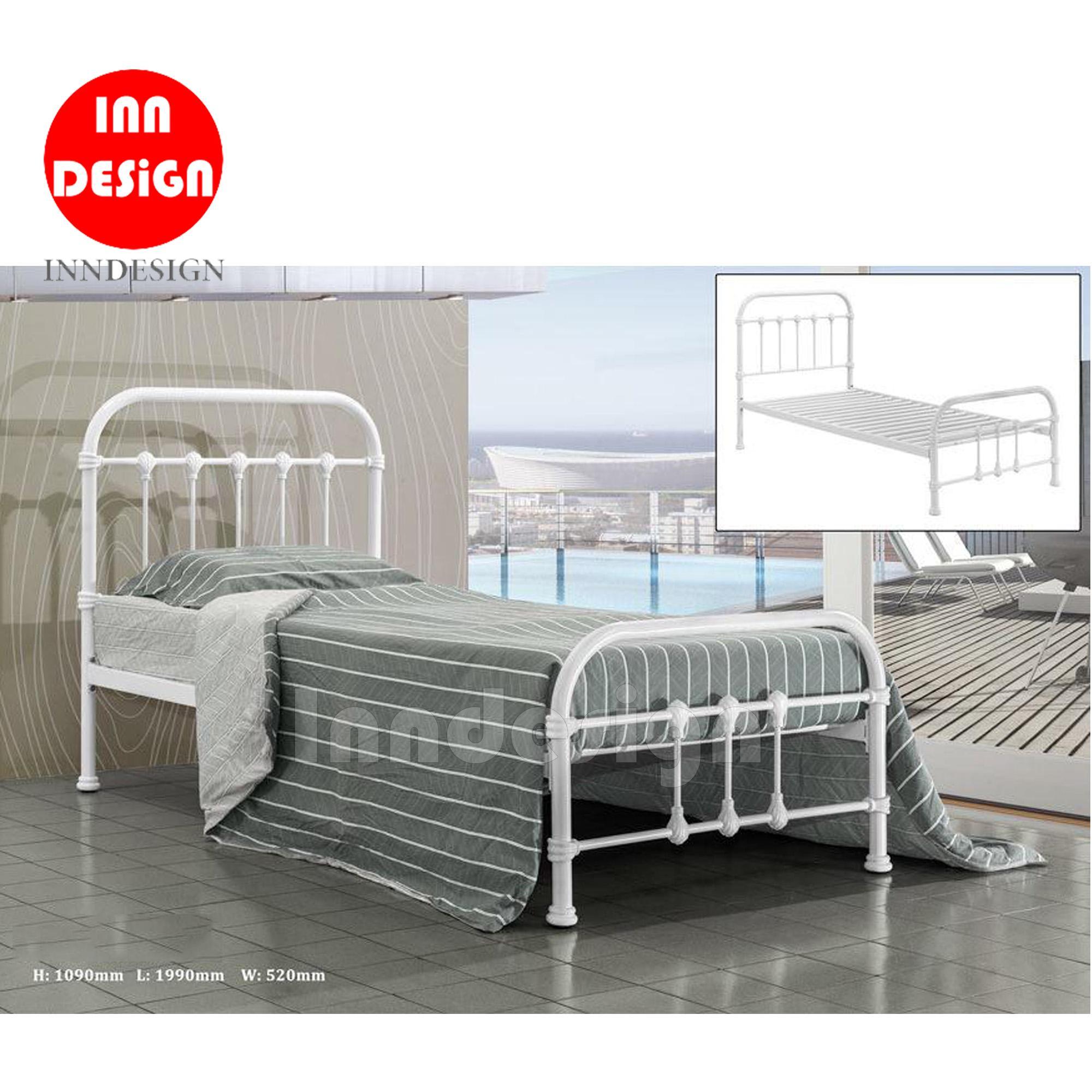 Single Metal Bed / Metal Bed Frame (White)