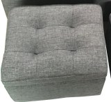 Fabric Cushion Ottoman Storage Stool Seat Box Bench Small Fabric Grey Lowest Price
