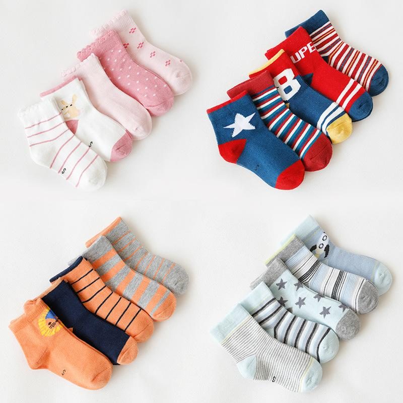 fbc905ba95a 5 Pairs  Lot Boys Socks Cotton Breathable Striped Dots Soft Warmer Girls Kids  Children Socks