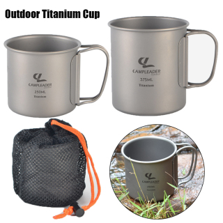 ALEXIS BAGS 2 Sizes Foldable Handle Outdoor Coffee Tea Holder Mug Pots Picnic Water Cup Titanium Tableware Camping Mug thumbnail
