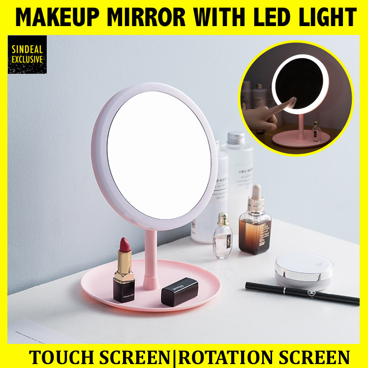 LED Pink Round Makeup Mirror - USB Rechargeable and Non Rechargeable - Compact Mirror with LED LIGHT