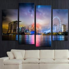 Fancy 4 panel Colorful City Nightscape Large HD Picture Modern Home Wall Decor Canvas Print Painting(Export)