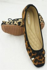 Discount Fashion Leopard Print Bow Flat Shoes Brown China