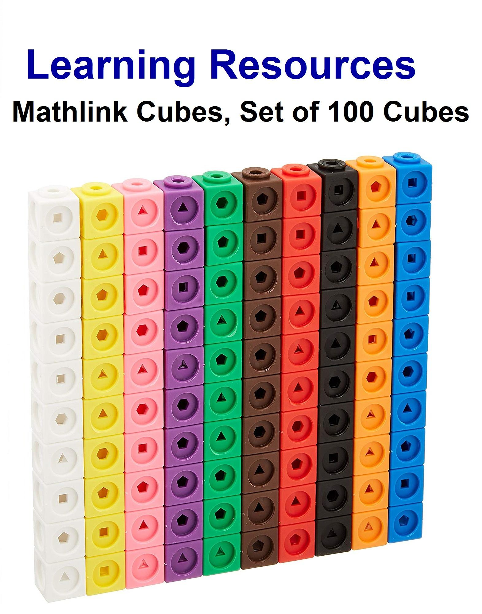 Learning Resources Mathlink Cubes, Educational Counting Toy, Set Of 100 Cubes By Mascotlicious.