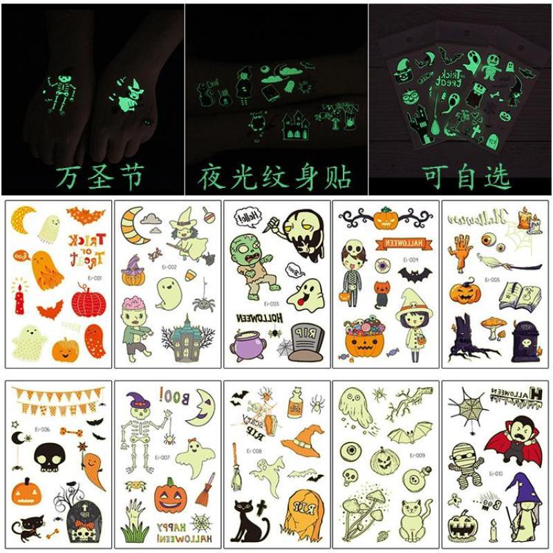 Buy Halloween Horror Night Light Tattoo Waterproof Children Party Decorations Pumpkin Lamp Bat Fluorescent Face Pasters Singapore