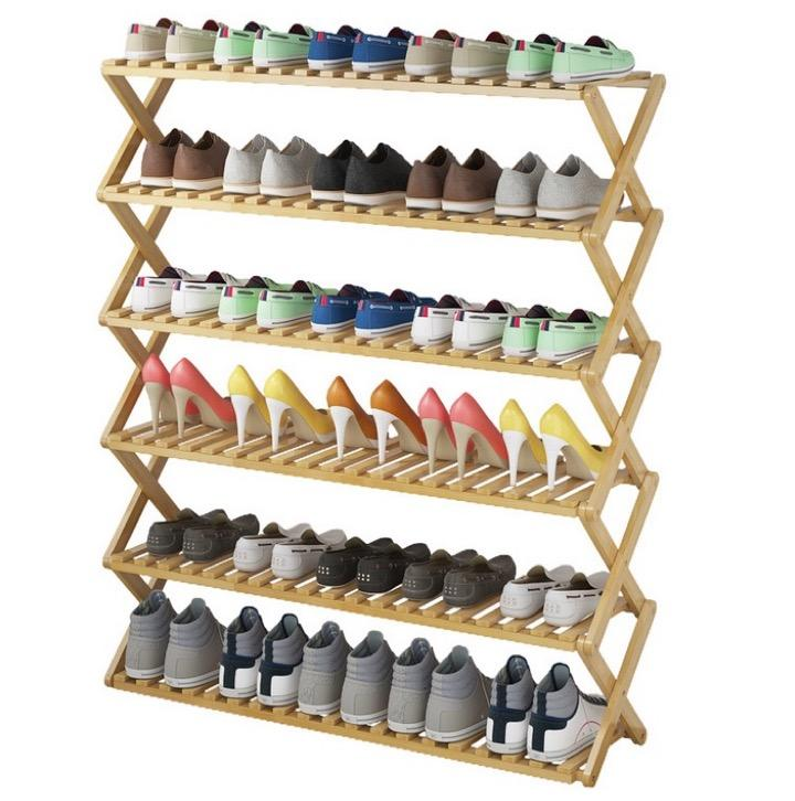 Bamboo 6 Tier Shoe Rack Wooden Folding Foldable Shoe Shelves Organizer Box Cabinet Entryway Container Bedroom Living Shoe Organiser