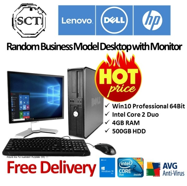 (Refurbished) HP home & business desktop pc - win 10 professional / 4gb / 500gb - full sets with 19 inch monitor, keyboard & mouse