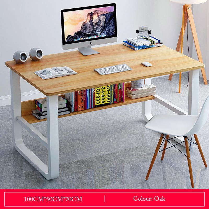 Oak Basic Desktop Study Table With Storage
