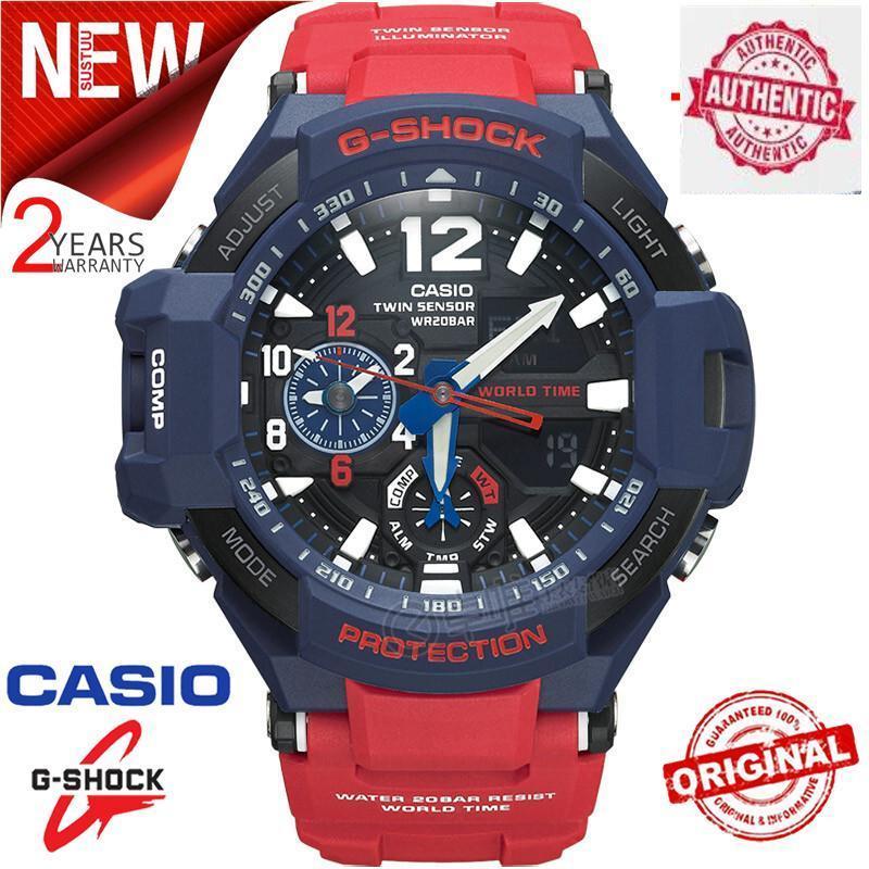 Original G Shock GA-1100-2A Men Sport Watch 200M Water Resistant Shockproof and Waterproof World Time LED Auto Light Wrist Sport Digital Watches with 2 Years Warranty GA1100/GA-1100 Malaysia